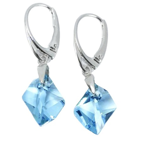 Earrings Swarovski BASIC - Cosmic Long Aquamarine