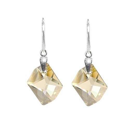 Earrings Swarovski BASIC - Cosmic Long  Golden Shadow