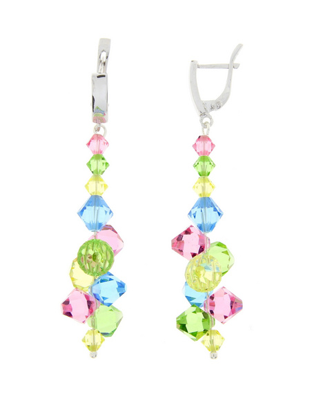 Earrings Swarovski GLAMOUR - crystal beads Colorful