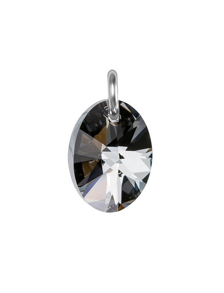 Obesek Swarovski BASIC - Oval Pendant, Silver Night